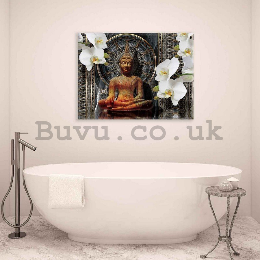 Painting on canvas: Buddha and white orchids (1) - 75x100 cm