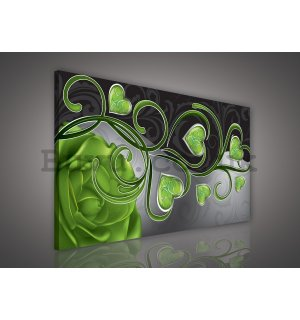 Painting on canvas: Hearts and roses (green) - 75x100 cm