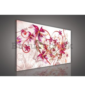 Painting on canvas: Hearts and abstract flowers - 75x100 cm