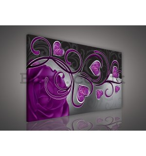 Painting on canvas: Hearts and roses (purple) - 75x100 cm