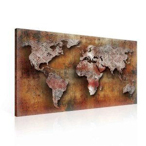 Painting on canvas: Art map of the World (3) - 75x100 cm