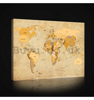 Painting on canvas: World Map (Vintage) - 75x100 cm