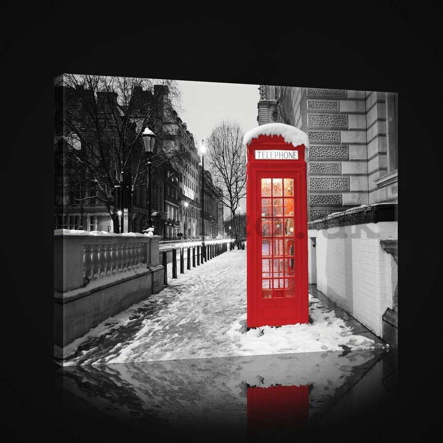 Painting on canvas: London (winter telephone booth) - 75x100 cm
