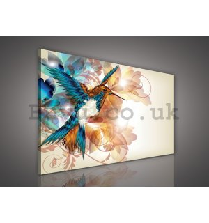Painting on canvas: Abstract flowers and hummingbird - 75x100 cm