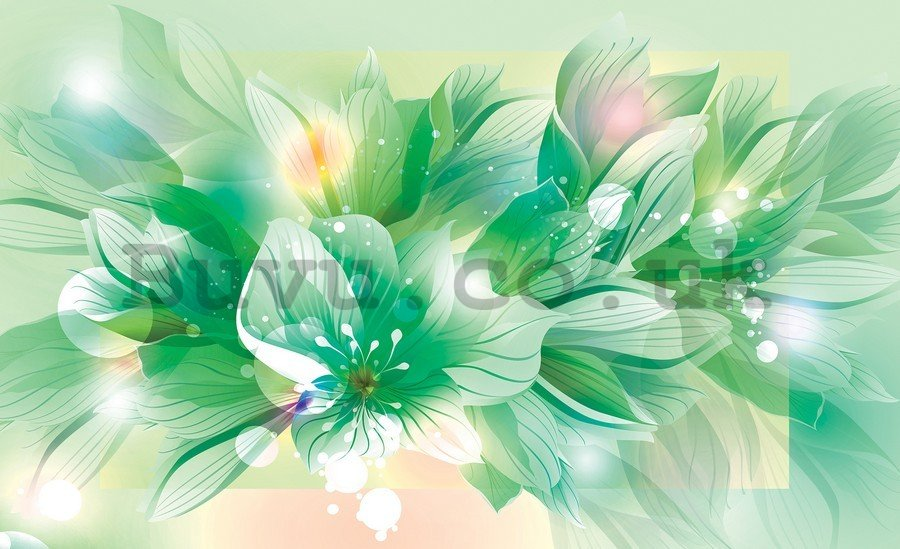 Painting on canvas: Abstract flowers (green) - 75x100 cm