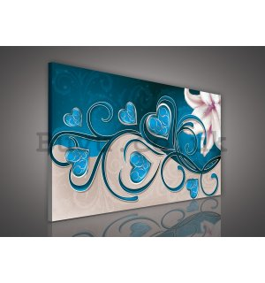 Painting on canvas: Hearts and Lily (turquoise) - 75x100 cm