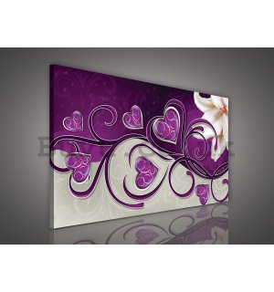 Painting on canvas: Hearts and Lily (2) - 75x100 cm