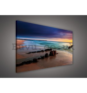 Painting on canvas: Colorful sunset on the beach - 75x100 cm