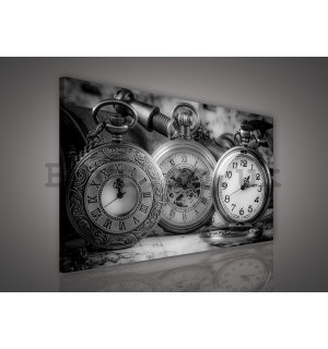 Painting on canvas: Stopwatch (black and white) - 75x100 cm