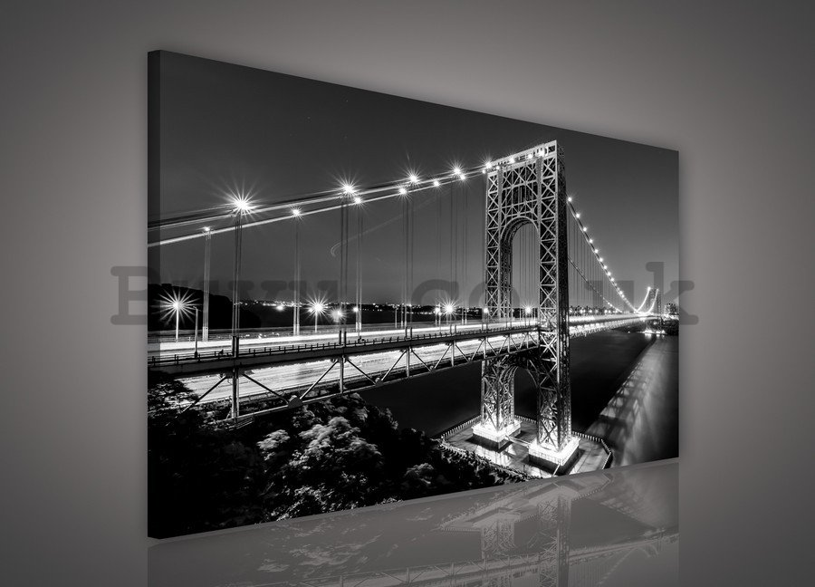 Painting on canvas: Manhattan Bridge (black and white) - 75x100 cm