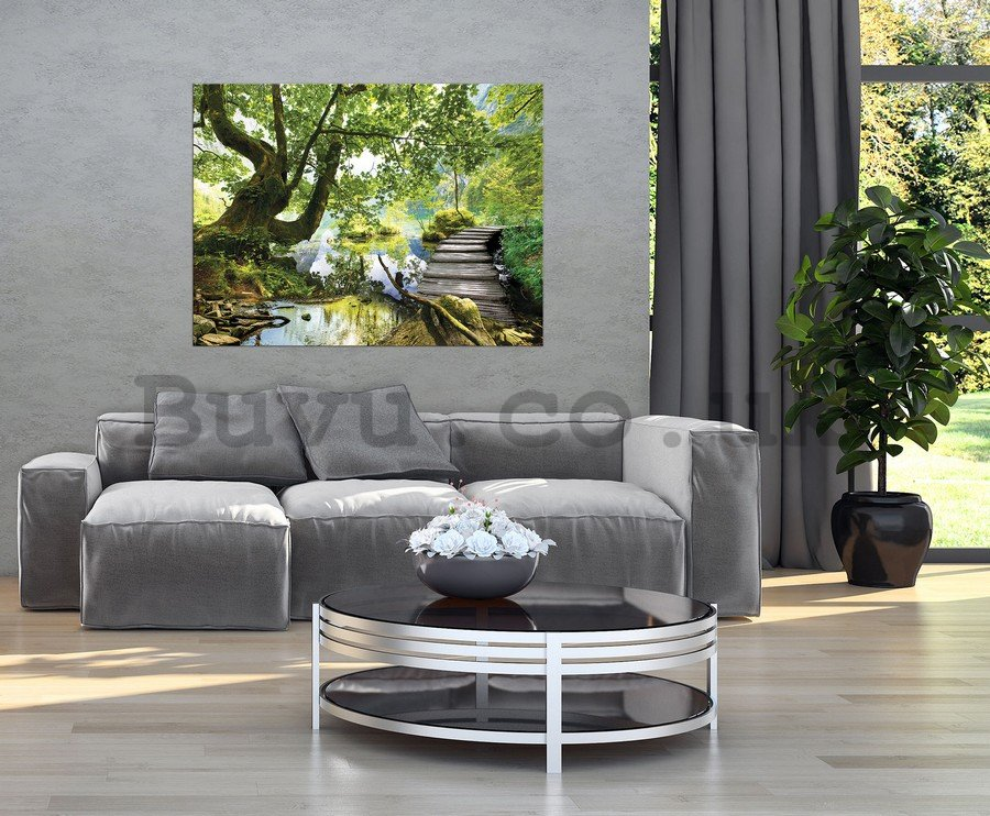Painting on canvas: Forest pool (3) - 75x100 cm