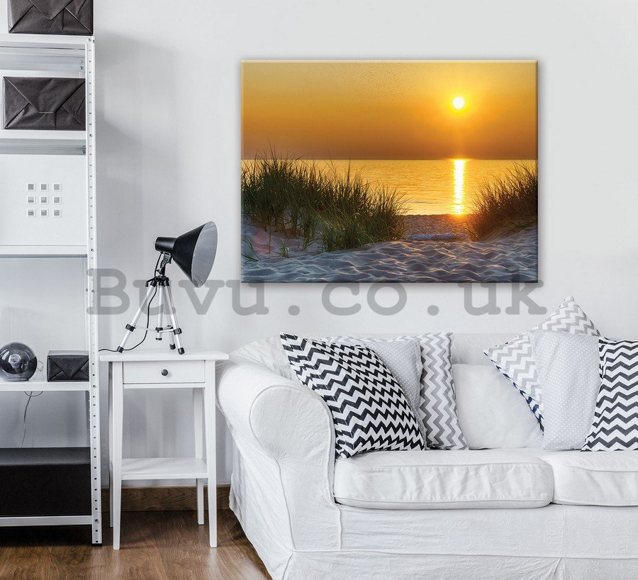 Painting on canvas: Sunset at the beach (5) - 75x100 cm