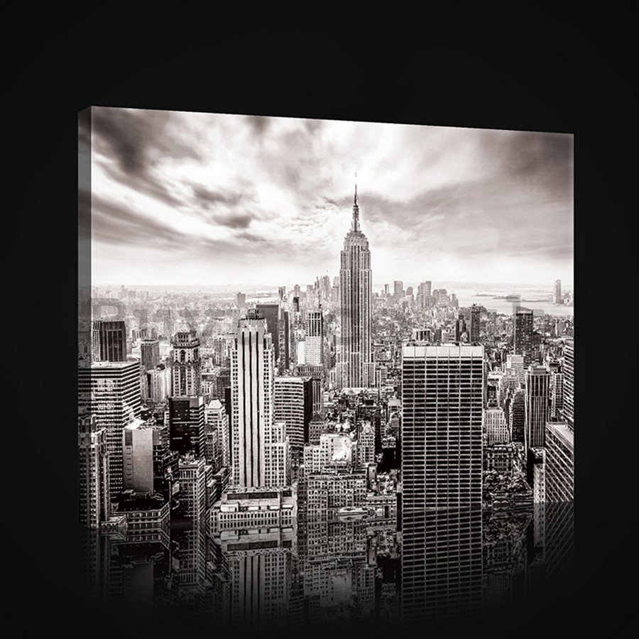 Painting on canvas: View on New York (black and white) - 75x100 cm