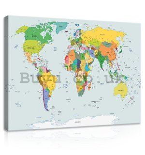 Painting on canvas: Map of the world (2) - 75x100 cm