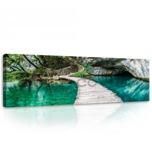 Painting on canvas: Wooden footbridge - 145x45 cm
