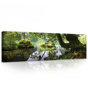 Painting on canvas: Forest pool - 145x45 cm