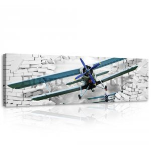 Painting on canvas: Biplane in the wall - 145x45 cm