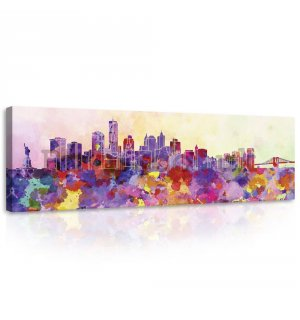 Painting on canvas: Pastel city - 145x45 cm