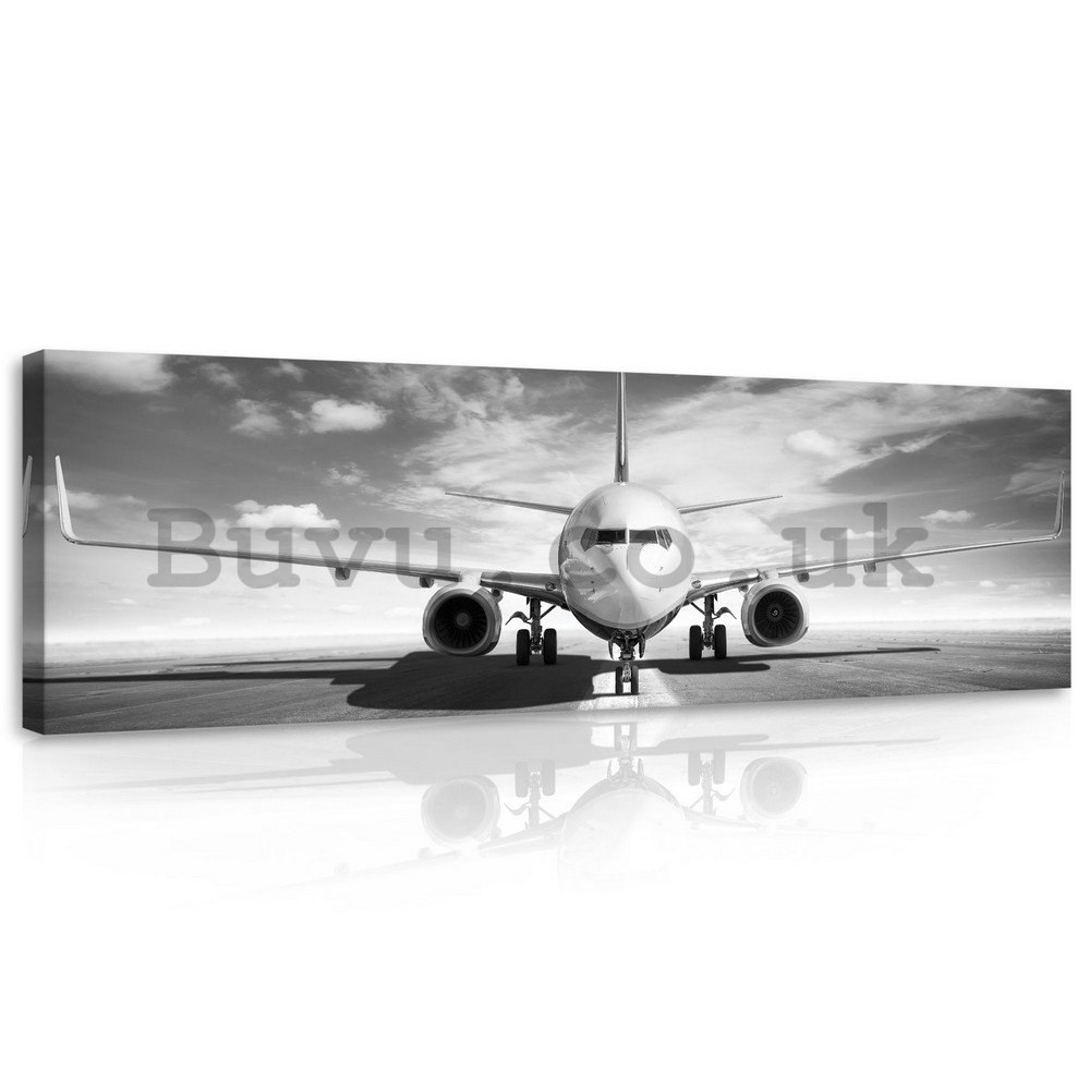 Painting on canvas: Airplane (black and white) - 145x45 cm