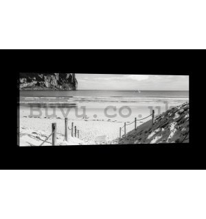 Painting on canvas: Sandy beach (black and white) - 145x45 cm