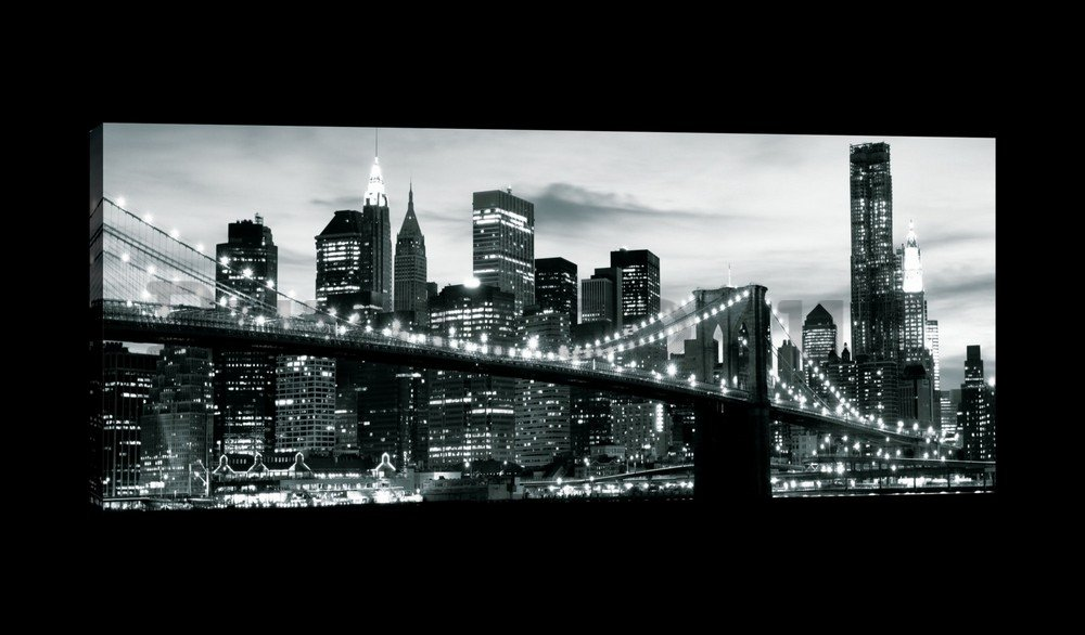 Painting on canvas: Black and White Brooklyn Bridge (4) - 145x45 cm