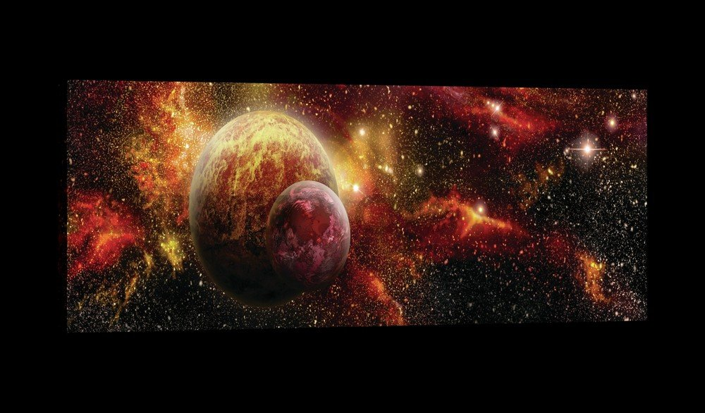Painting on canvas: Space - 145x45 cm