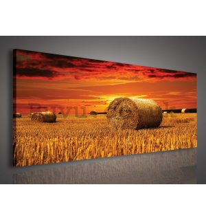 Painting on canvas: Bales of straw in the field - 145x45 cm