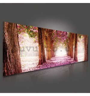 Painting on canvas: Blossom alley (1) - 145x45 cm