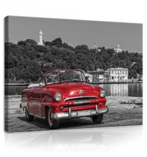 Painting on canvas: Cuba, Vintage Red Car  - 75x100 cm