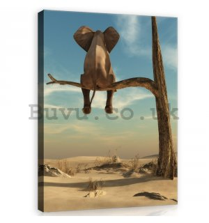 Painting on canvas: Elephant on the tree - 100x75 cm