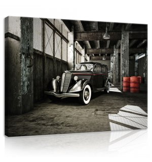 Painting on canvas: Black Vintage Car - 75x100 cm