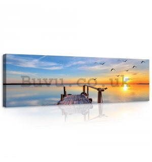 Painting on canvas: A pier at sunset - 145x45 cm