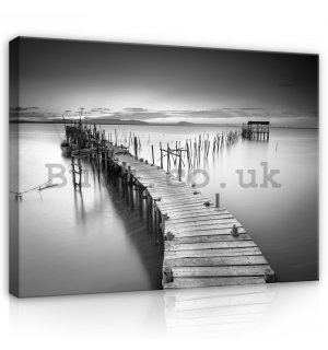 Painting on canvas: Wooden pier (B&W) - 75x100 cm