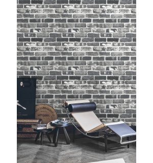 Vinyl wallpaper brick wall gray-black (3)