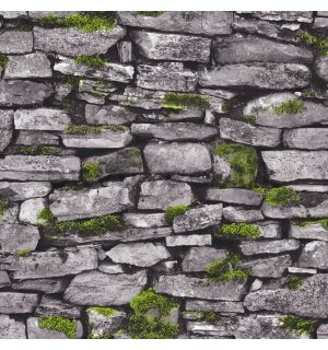 Vinyl wallpaper gray stone wall