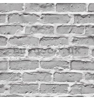 Vinyl wallpaper light gray brick wall