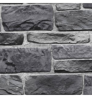 Vinyl wallpaper dark gray stone wall (1)