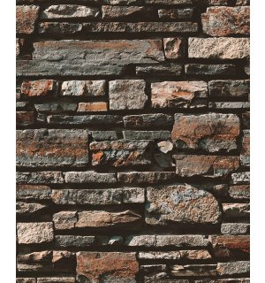 Vinyl wallpaper dark brown stone wall