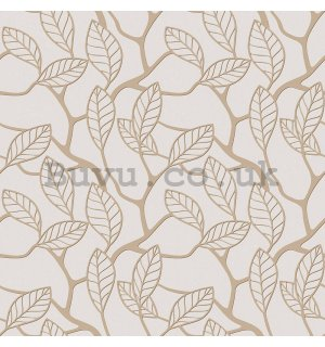 Vinyl wallpaper beige leaves