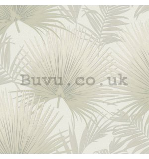 Vinyl wallpaper beige palm leaves