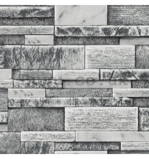 Vinyl wallpaper gray stone wall  (3)