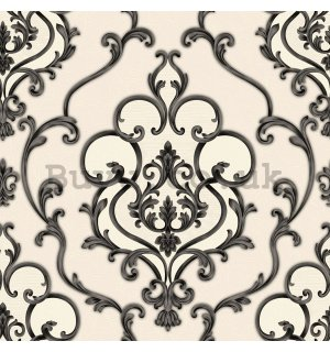 Vinyl wallpaper ornament black on creamy