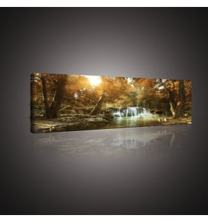 Painting on canvas: Forest waterfalls (1) - 145x45 cm