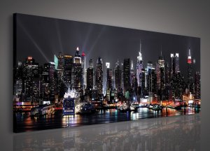 Painting on canvas: New York at night (2) - 145x45 cm