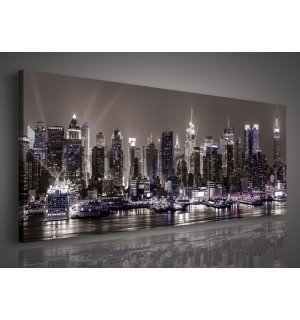 Painting on canvas: New York at night - 145x45 cm
