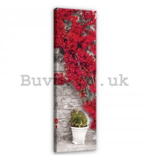 Painting on canvas: Red floral wall - 145x45 cm