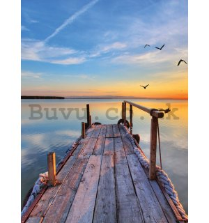 Wall mural: A pier at sunset - 184x254 cm