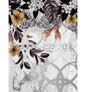 Wall mural: Painted floral abstraction (1) - 184x254 cm