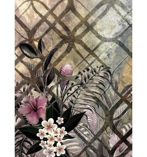 Wall mural: Painted floral abstraction (3) - 184x254 cm