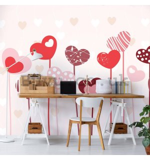 Wall mural vlies: Painted hearts - 254x184 cm